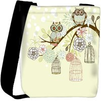 Snoogg Owl Winter Floral Background Owls Out Of Their Cages Concept Vector Designer Womens Carry Around Cross Body Tote Handbag Sling Bags RPC-4885-SLTOBAG