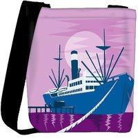 Snoogg Passenger Cargo Ship Docking Designer Protective Back Case Cover For Oneplus 3 Designer Womens Carry Around Cross Body Tote Handbag Sling Bags RPC-4902-SLTOBAG