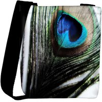 Snoogg Peacock Feather Background Designer Protective Back Case Cover For Oneplus 3 Designer Womens Carry Around Cross Body Tote Handbag Sling Bags RPC-4911-SLTOBAG