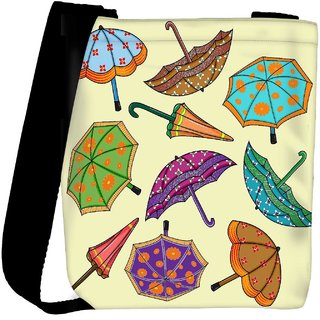 Snoogg Abstract Rainy Season Background With Umbrellas Designer Protective Back Case Cover For Oneplus 3 Designer Womens Carry Around Cross Body Tote Handbag Sling Bags RPC-3793-SLTOBAG