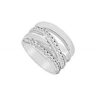 LoveBrightJewelry Diamond Crossover Ring 14K White Gold-0.75 CT