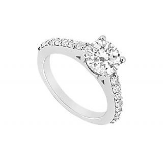 LoveBrightJewelry Swank 18K White Gold & Diamond Engagement Ring-1.00 CT