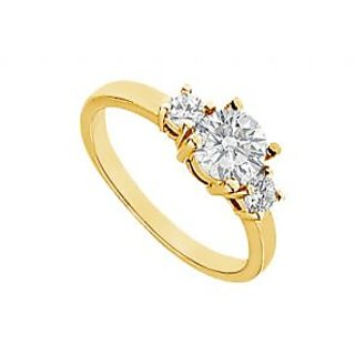 LoveBrightJewelry 14K Yellow Gold Three Stone Diamond Engagement Ring-1.00 CT