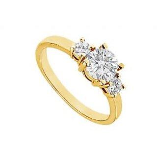 LoveBrightJewelry 14K Yellow Gold Three Stone Diamond Engagement Ring-1.00 CT