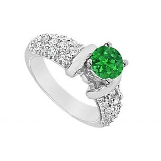 LoveBrightJewelry Voguish 14K White Gold Emerald & Diamond Engagement Ring-2.00 CT
