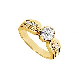 LoveBrightJewelry Authentic 14K Yellow Gold Diamond Engagement Ring-1.00 CT