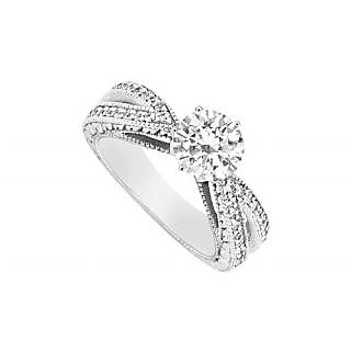 LoveBrightJewelry 18K White Gold & Diamond Engagement Ring- 1.00 CT