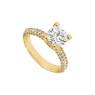LoveBrightJewelry Modish 14K Yellow Gold Diamond Engagement Ring-1.50 CT