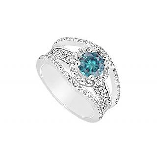 LoveBrightJewelry Exquisite Blue 14K White Gold & Diamond Engagement Ring-1.25 CT