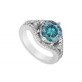 LoveBrightJewelry Stylish Blue 14K White Gold & Diamond Engagement Ring-0.75 CT