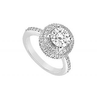 LoveBrightJewelry 18K White Gold & Diamond Classic Engagement Ring- 1.25 CT