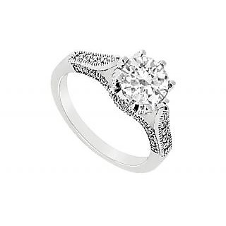 LoveBrightJewelry Modish 18K White Gold & Diamond Engagement Ring-1.00 CT