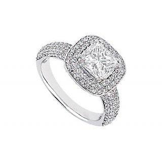 LoveBrightJewelry Platinum Diamond Swanky Engagement Ring-1.50 CT