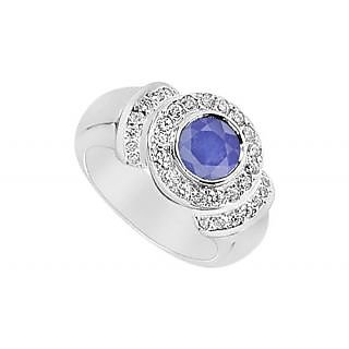 LoveBrightJewelry 14K White Gold Sapphire & Diamond Ring-1.50 CT