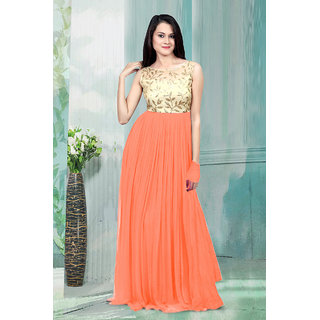 1 Stop Fashion Peach Resham Embroidery Georgette Gown