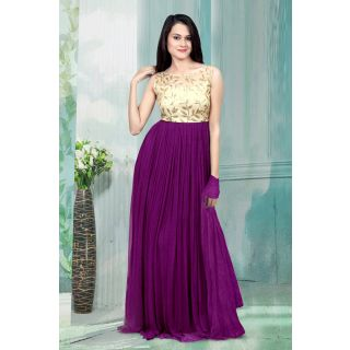 1 Stop Fashion Purple Resham Embroidery Georgette Gown