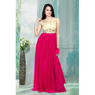 1 Stop Fashion Pink Resham Embroidery Georgette Gown