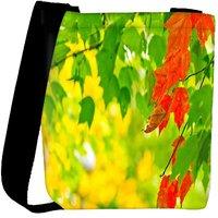 Snoogg Red Leaves On Tree Designer Womens Carry Around Cross Body Tote Handbag Sling Bags RPC-7689-SLTOBAG