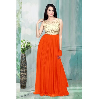 1 Stop Fashion Orange Resham Embroidery Georgette Gown