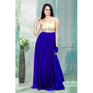 1 Stop Fashion Blue Resham Embroidery Georgette Gown