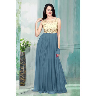 1 Stop Fashion Grey Resham Embroidery Georgette Gown