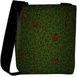 Snoogg Leaves With Berry Designer Womens Carry Around Cross Body Tote Handbag Sling Bags RPC-7715-SLTOBAG