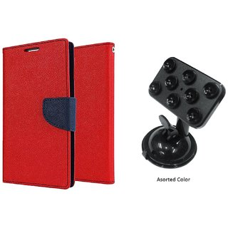 Sony Xperia C WALLET FLIP CASE COVER (RED) With Mobile Holder Car Mount Suction Cup