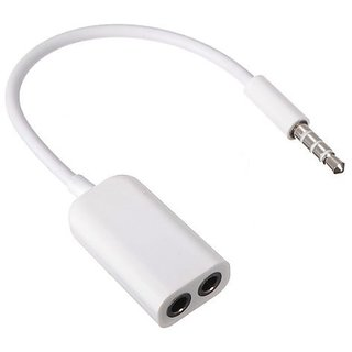 ROBOSTER 3.5mm Stereo Audio Male to 2 x 3.5mm Female Earphone Splitter Cable Adapter for Apple iPod iPhone iPad - White