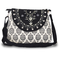 Black Ladies Canvas Medium Sling Bag With Black Motiff