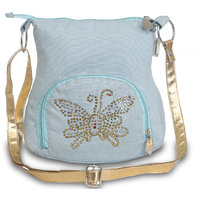 Sling Bag-Sky Blue Small Ladies Canvas Sling Bag With G
