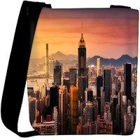 Snoogg Tall Buildings Designer Womens Carry Around Cross Body Tote Handbag Sling Bags RPC-8580-SLTOBAG