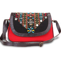 Red Canvas And Pu Ladies Sling Bag With Black Flap With