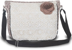 Sling Bag-Brown Pu Ladies Sling Bag With Crotia Fabric