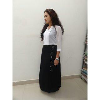 Ansh Collection Black & White Plain Mini Skirts Skirt For Women
