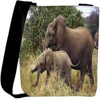 Snoogg Elephant Family Designer Womens Carry Around Cross Body Tote Handbag Sling Bags RPC-8218-SLTOBAG