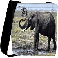 Snoogg Elephant Walking Designer Womens Carry Around Cross Body Tote Handbag Sling Bags RPC-8221-SLTOBAG