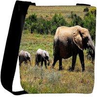Snoogg Elephant Walking In Water Designer Womens Carry Around Cross Body Tote Handbag Sling Bags RPC-8223-SLTOBAG