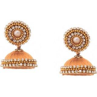 Kuhuk Dancing Drops Cubic Zirconia Silk Dori, Plastic, Alloy Jhumki Earring