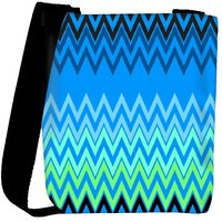 Snoogg Wave Patterns Blues Designer Protective Back Case Cover For Oneplus 3 Designer Womens Carry Around Cross Body Tote Handbag Sling Bags RPC-339-SLTOBAG