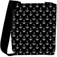 Snoogg Black And White Anchors Designer Protective Back Case Cover For Oneplus 3 Designer Womens Carry Around Cross Body Tote Handbag Sling Bags RPC-3001-SLTOBAG