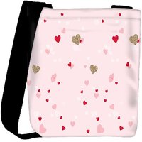 Snoogg Heart Pattern Pink Designer Protective Back Case Cover For Oneplus 3 Designer Womens Carry Around Cross Body Tote Handbag Sling Bags RPC-3190-SLTOBAG
