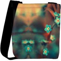 Snoogg Blue Serene Cute Flowers Designer Protective Back Case Cover For Oneplus 3 Designer Womens Carry Around Cross Body Tote Handbag Sling Bags RPC-3192-SLTOBAG