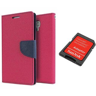 Samsung Galaxy Grand I9082 WALLET FLIP CASE COVER (PINK) With SD CARD ADAPTER