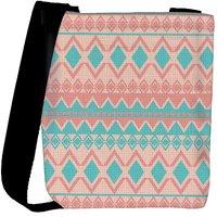 Snoogg Light Pink And Blue Aztec Designer Protective Back Case Cover For Oneplus 3 Designer Womens Carry Around Cross Body Tote Handbag Sling Bags RPC-3033-SLTOBAG