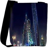 Snoogg Colorful Building Designer Womens Carry Around Cross Body Tote Handbag Sling Bags RPC-8132-SLTOBAG