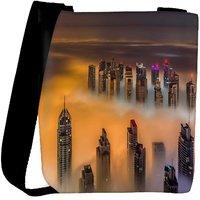 Snoogg Smoky View Of Building Designer Womens Carry Around Cross Body Tote Handbag Sling Bags RPC-8135-SLTOBAG