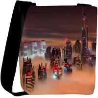 Snoogg Fog In The Top Of Building Designer Womens Carry Around Cross Body Tote Handbag Sling Bags RPC-8137-SLTOBAG
