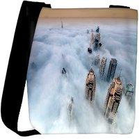 Snoogg Clouds And Building Designer Womens Carry Around Cross Body Tote Handbag Sling Bags RPC-8138-SLTOBAG