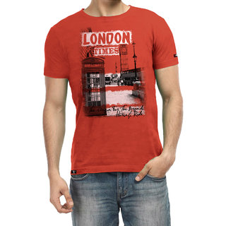 H&R Mens Crew Neck Red T Shirt