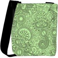 Snoogg Fabric Pattern Light Green Designer Protective Back Case Cover For Oneplus 3 Designer Womens Carry Around Cross Body Tote Handbag Sling Bags RPC-3092-SLTOBAG